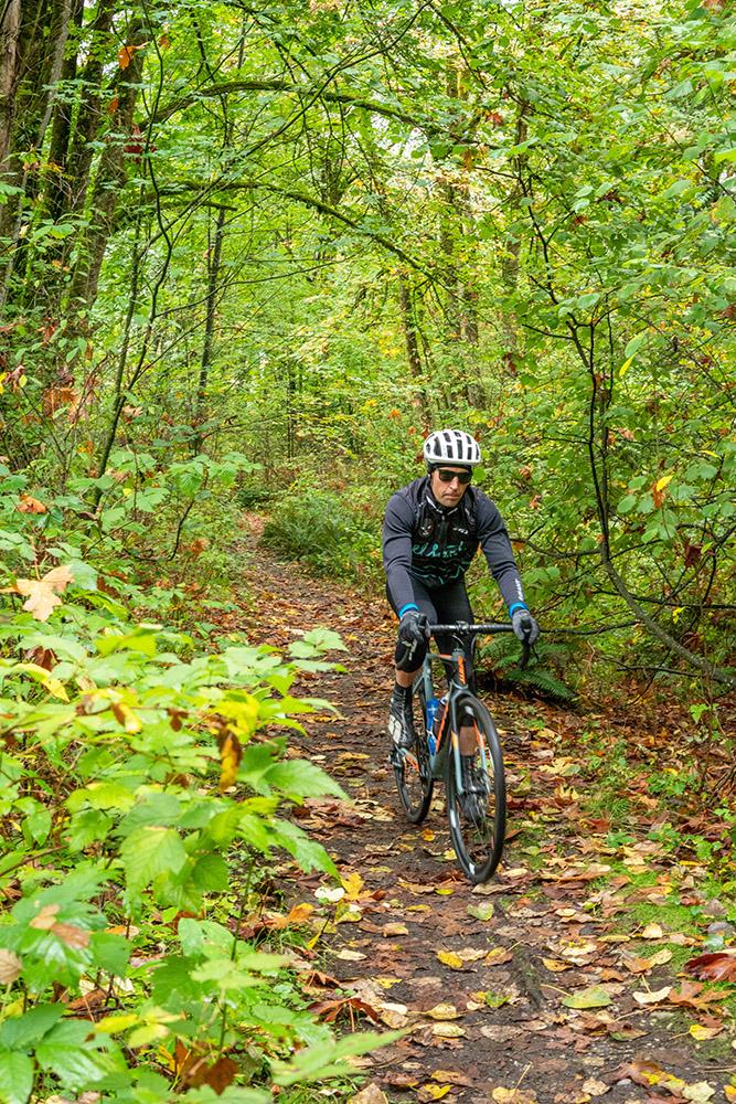 Cyclist on the Interurban railbed trail