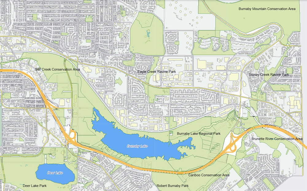 conservation areas in Burnaby's central valley