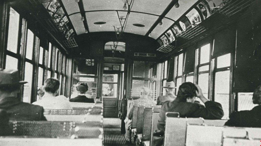 Burnaby Lake Interurban tram interior, 1920