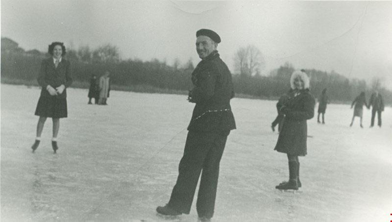 Skating on Burnaby Lake, 1940